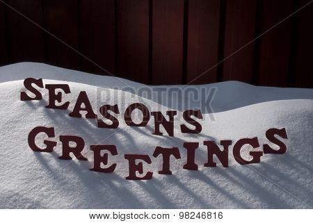 Christmas Word Seasons Greetings On Snow