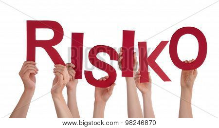 Many People Hands Holding Red Word Risk