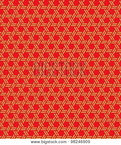 Golden seamless Vintage Chinese window tracery repeat geometry polygon pattern background.