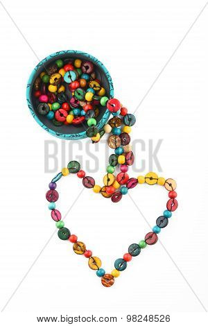Heart Shaped Colorful Beads Isolated On White