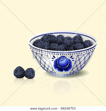 Bowl With Blue Floral Ornament And Blackberry