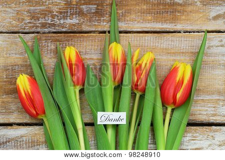 Danke (Thank you in German) card with red and yellow tulips