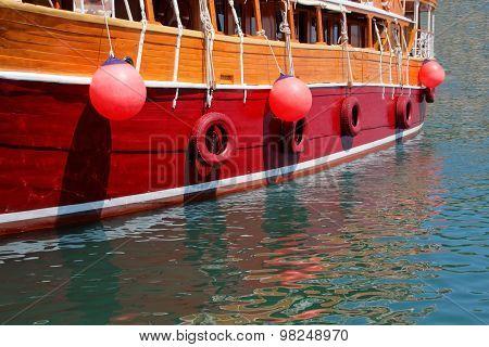 Closeup Of A Beautiful Large Sailing Ship
