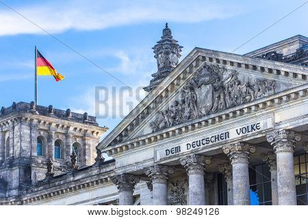Elements Of The Roof And Towers Of The Reichstag. Berlin, Germany