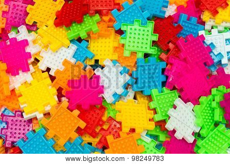 Colorful Jigsaw Puzzle Close Up.