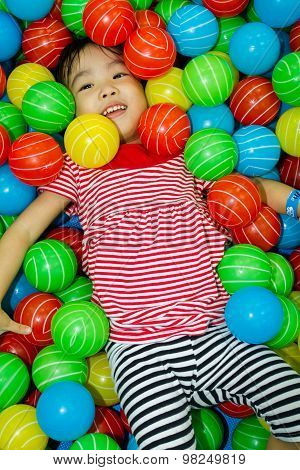 Asian Chinese Girl In Ball Pool
