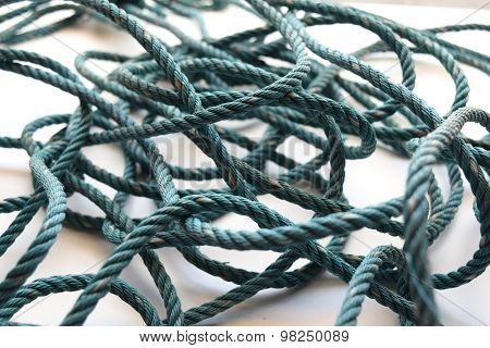 Old Green nylon rope swaddle  abstract background
