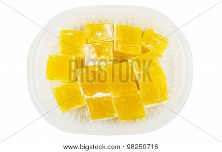 Yellow Turkish Delight In Transparent Plastic Box