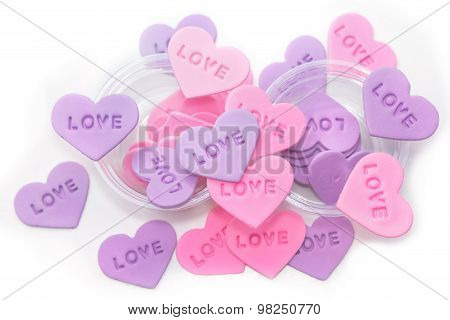 Colorful  Heart-shaped Sprinkles On White