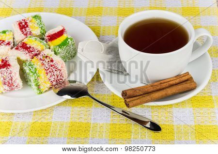 Multicolor Turkish Delight In Plate, Cup Of Hot Tea