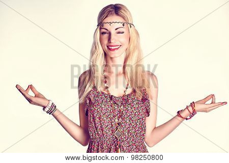 Boho woman meditates and relax with closed eyes, toned