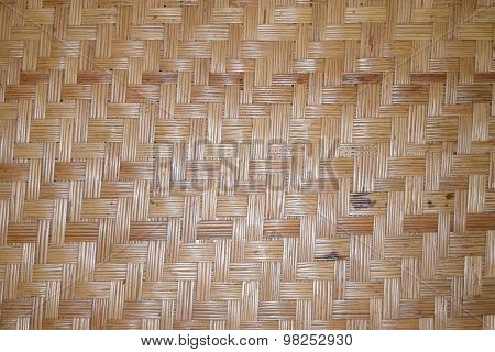 Old Brown bamboo weave mat  texture background