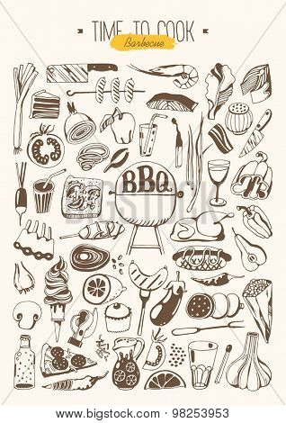Hand drawn set - Barbeque