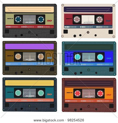 Collection of vector retro audio cassettes. Set of different colorful music tapes. Isolated on white