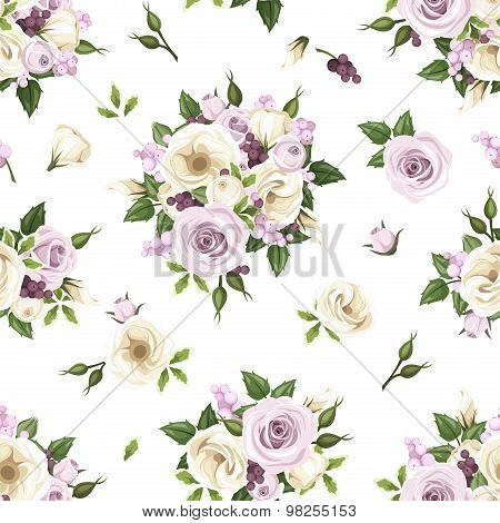 Seamless pattern with purple and white roses and lisianthus flowers. Vector illustration.