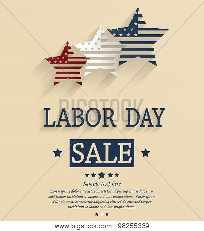 Labor Day sale. Red, white and blue stars.