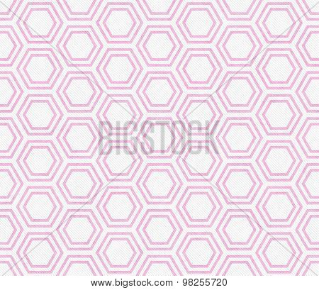 Pink And White Hexagon Tile Pattern Repeat Background