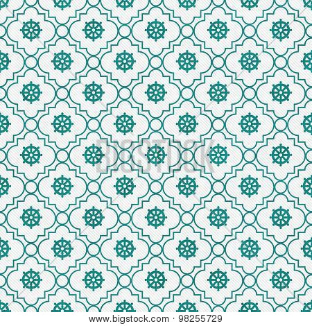 Teal And White Wheel Of Dharma Symbol Tile Pattern Repeat Background