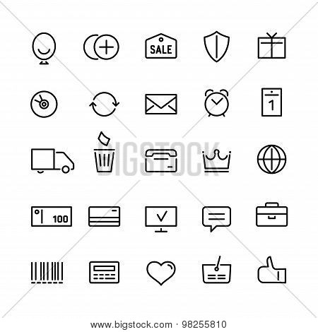 Internet shop icons set in linear style