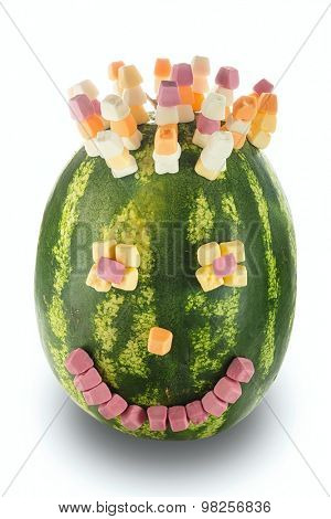 funny decorated with melon on a white background