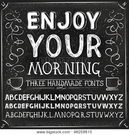 Vector Three Hand Drawn Fonts