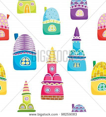 Seamless Pattern With Colorful Cartoon Houses