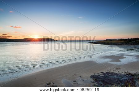 Sunset Over Daymer Bay In Cornwall