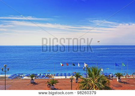 Beach On The Promenade D Anglais (english Promenade) In Nice, France