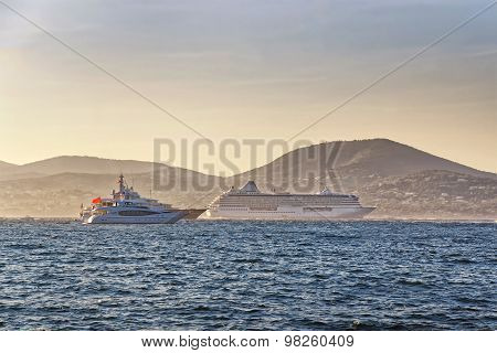 Cruise Liner And Luxury Yachts In Saint Tropez Harbor