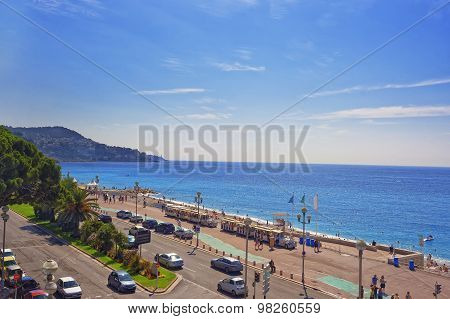 Promenade D Anglais (english Promenade) In Nice, France, View To The East