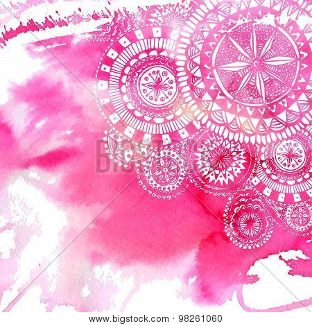 Pink watercolor paint background with white hand drawn round doodles and mandalas.