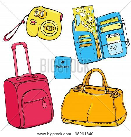 Set of travel illustrations: pink trolley bag, passport, blue organizer wallet with tickets and map,