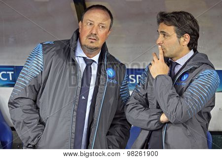 Rafael Benítez And Fabio Pecchia Of Ssc Napoli