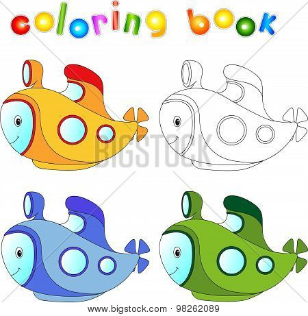 Funny Cartoon Submarine. Coloring Book For Children