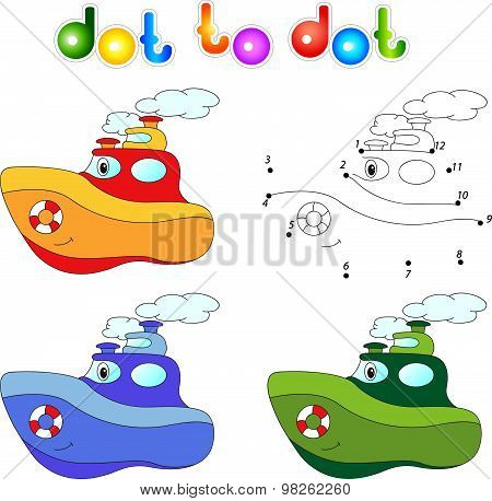 Funny Cartoon Steamship. Connect Dots And Get Image. Educational Game For Kids