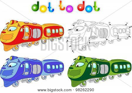 Funny Cartoon Train. Connect Dots And Get Image. Educational Game For Kids