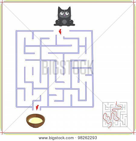 Help The Car Go Through A Maze And Find Saucer Of Milk. Educational Game For Children