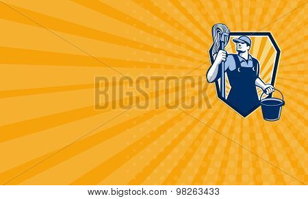 Business Card Janitor Cleaner Hold Mop Bucket Shield Retro