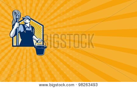 Business Card Janitor Cleaner Holding Mop Bucket Retro