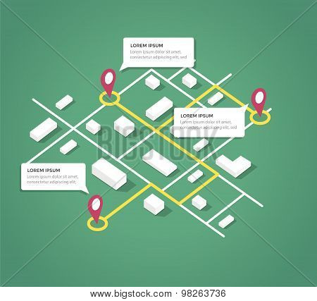 Isometric city map design elements.