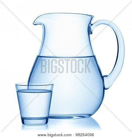 Pitcher and a glass of water, isolated on the white background, clipping path included.