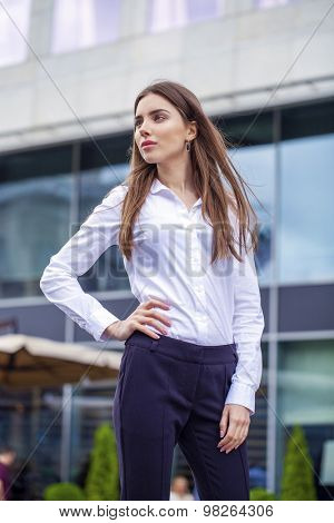 Close up Portrait, young business woman in white shirt on summer street city
