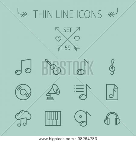 Music and entertainment thin line icon set for web and mobile. Set includes- musical notes, phonograph record, g- clef, headphone, gramophone, guitar, piano icons. Modern minimalistic flat design
