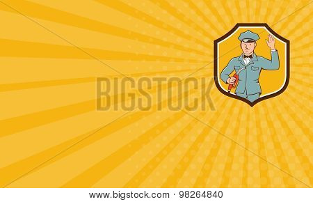 Business Card Gas Jockey Attendant Waving Shield Cartoon
