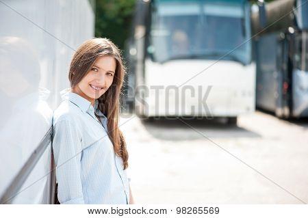 Beautiful young girl is enjoying her journey