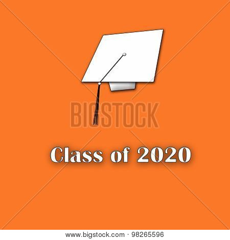 Class of 2020 White on Orange Single Large