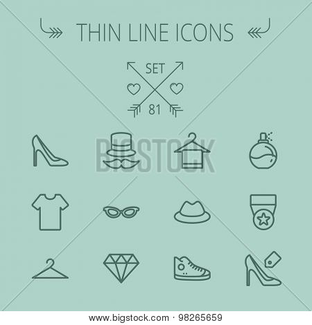 Business shopping thin line icon set for web and mobile. Set includes- vintage cap, cat eyeglasses, diamond, high heel, t-shirt, hanger, cap, rubber shoe, perfume, medal icons. Modern minimalistic