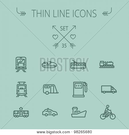 Transportation thin line icon set for web and mobile. Set includes- yacht, train, bicycle, gas tank, ship, van, police car, boat, motor, icons. Modern minimalistic flat design. Vector dark grey icon