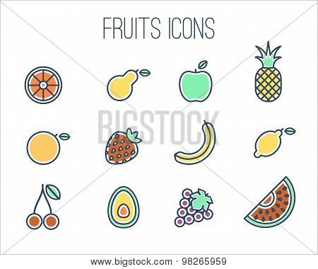 Thin Line Fruits Icons