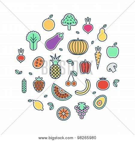 Vegetables And Fruits Thin Line Icons